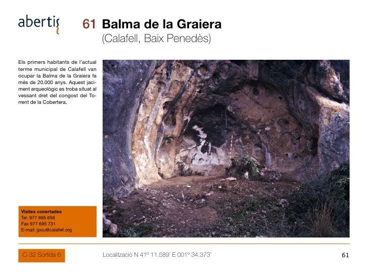 61 Balma de la Graiera                                       (Calafell, Baix Penedès) Els primers habitants de l'actual te...