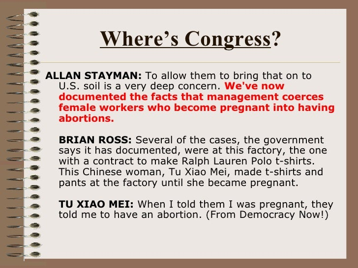 Where's Congress ? <ul><li>ALLAN STAYMAN:  To allow them to bring that on to U.S. soil is a very deep concern.  We've now ...