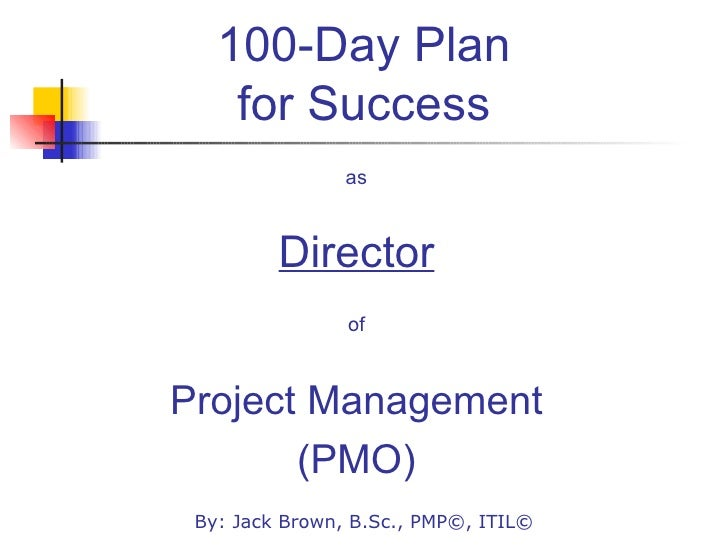 100-Day Plan for Success <ul><li>as </li></ul><ul><li>Director </li></ul><ul><li>of </li></ul><ul><li>Project Management <...