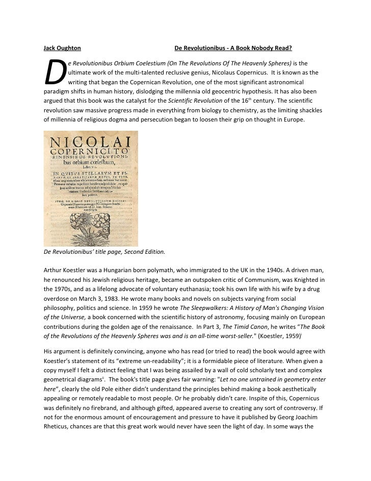 Jack Oughton                                      De Revolutionibus - A Book Nobody Read?     D        e Revolutionibus Or...