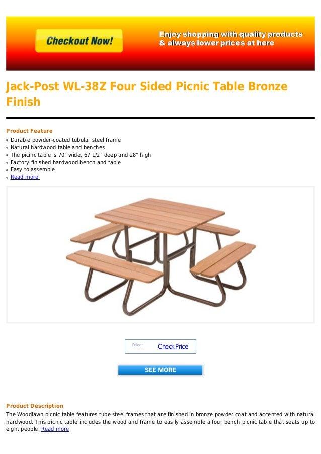 Jack Post Wl Z Four Sided Picnic Table Bronze Finish - Tubular picnic table frame