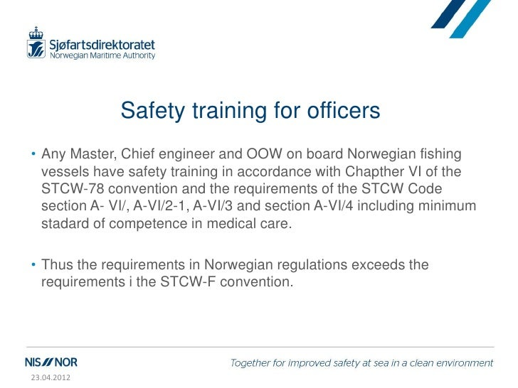 Jackarild day 2 7 implementation of stcw f convention 1 for Table a vi 6 2 of the stcw code