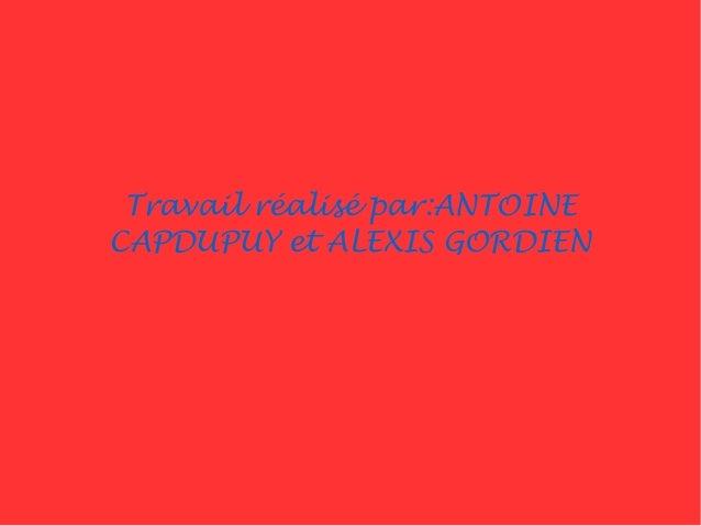 Travail réalisé par:ANTOINE CAPDUPUY et ALEXIS GORDIEN