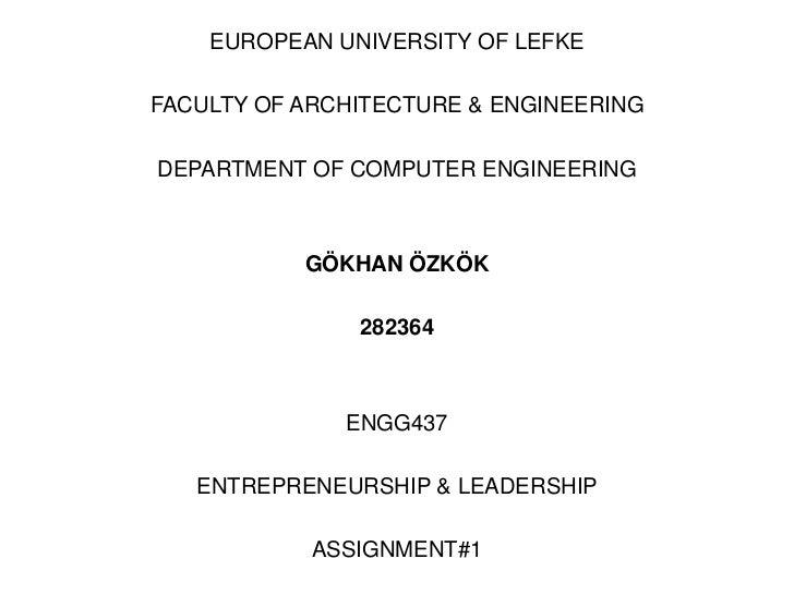 EUROPEAN UNIVERSITY OF LEFKEFACULTY OF ARCHITECTURE & ENGINEERINGDEPARTMENT OF COMPUTER ENGINEERING           GÖKHAN ÖZKÖK...