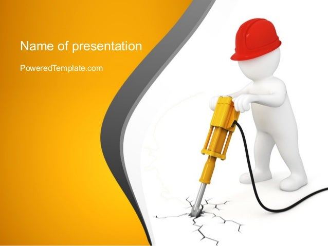 jackhammer worker powerpoint template by poweredtemplatecom