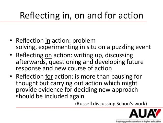 reflection on action Practice is achieved by reflection-in-action in his example of teaching  architecture, schön characterises designing as a reflective conversation with the  materials.