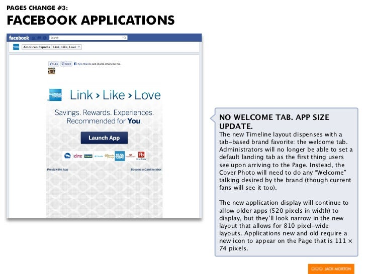 PAGES CHANGE #3:FACEBOOK APPLICATIONS                        NO WELCOME TAB. APP SIZE                        UPDATE.      ...
