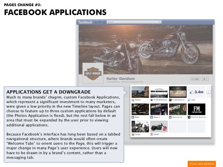 PAGES CHANGE #3:FACEBOOK APPLICATIONS APPLICATIONS GET A DOWNGRADE Much to many brands' chagrin, custom Facebook Applicati...
