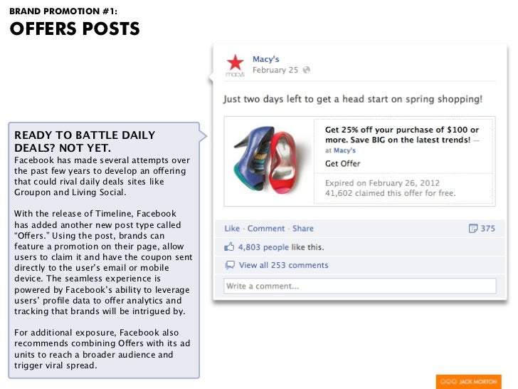 BRAND PROMOTION #1:OFFERS POSTSREADY TO BATTLE DAILYDEALS? NOT YET.Facebook has made several attempts overthe past few yea...