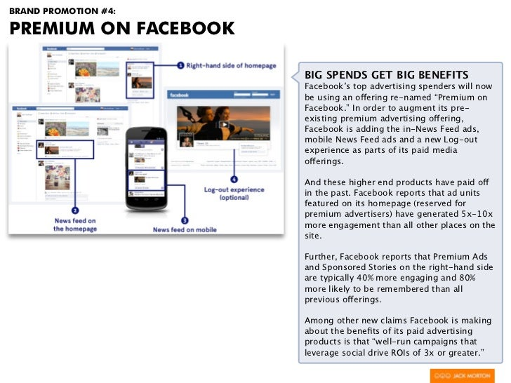 BRAND PROMOTION #4:PREMIUM ON FACEBOOK                      BIG SPENDS GET BIG BENEFITS                      Facebook's to...