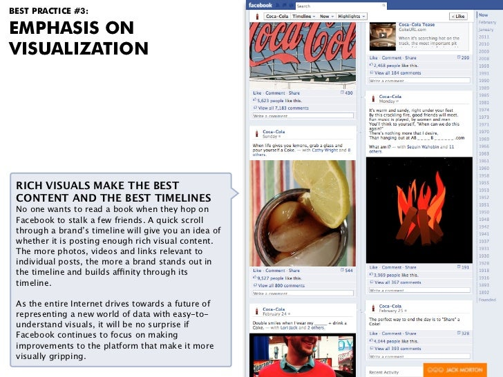 BEST PRACTICE #3:EMPHASIS ONVISUALIZATION RICH VISUALS MAKE THE BEST CONTENT AND THE BEST TIMELINES No one wants to read a...