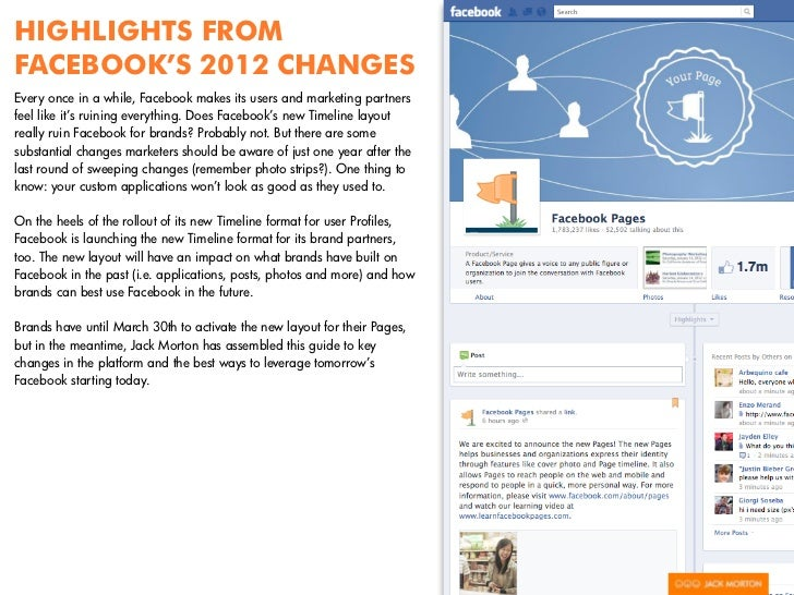 HIGHLIGHTS FROMFACEBOOK'S 2012 CHANGESEvery once in a while, Facebook makes its users and marketing partnersfeel like it's...