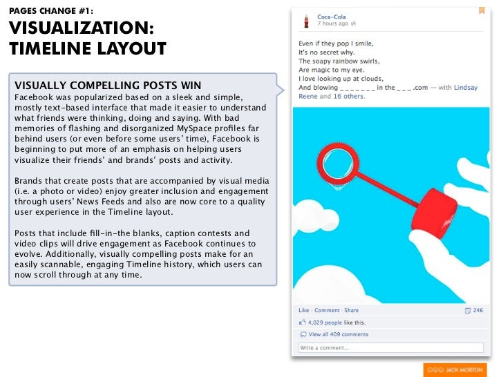 PAGES CHANGE #1:VISUALIZATION:TIMELINE LAYOUT VISUALLY COMPELLING POSTS WIN Facebook was popularized based on a sleek and ...