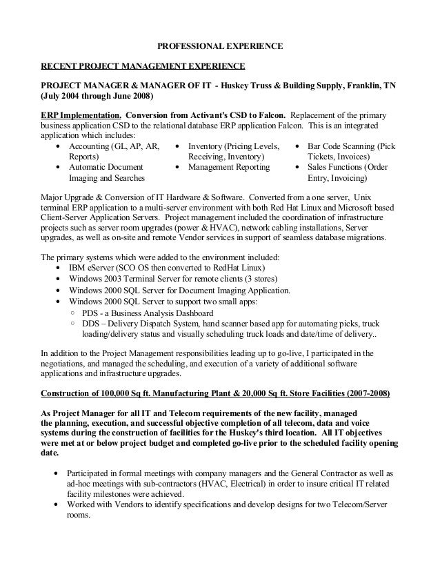 Construction Project Manager Resume Examples | Resume Examples And