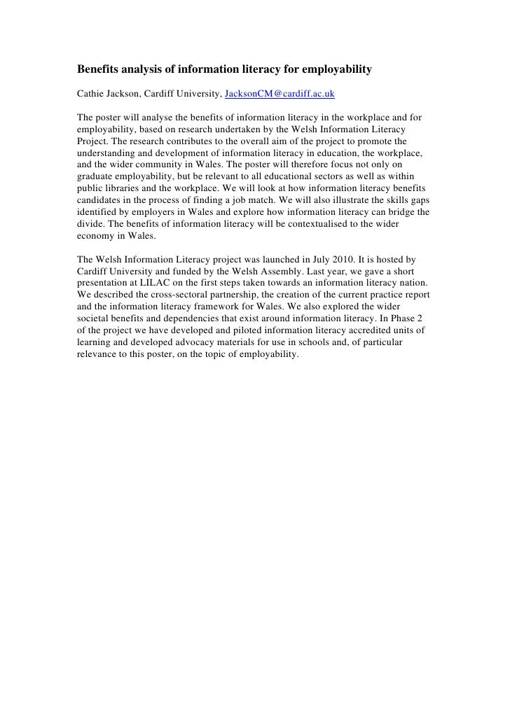 Benefits analysis of information literacy for employabilityCathie Jackson, Cardiff University, JacksonCM@cardiff.ac.ukThe ...