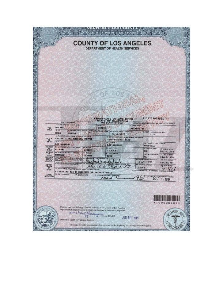 Jackson Kids Birth Certificates