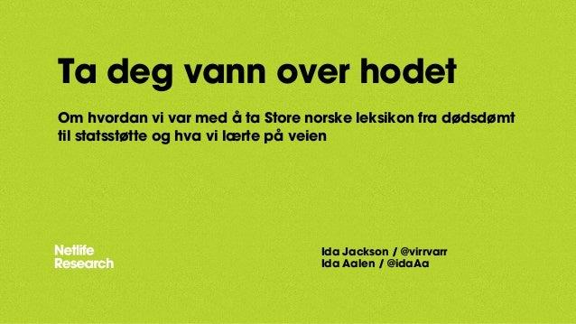 Ta deg vann over hodet  Om hvordan vi var med å ta Store norske leksikon fra dødsdømt  til statsstøtte og hva vi lærte på ...