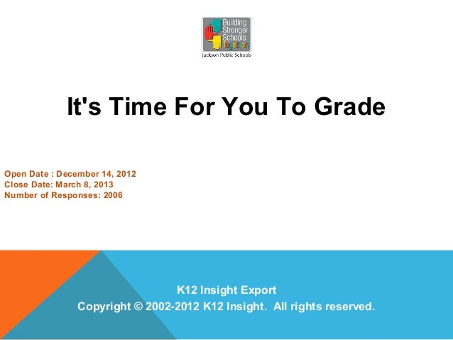 Its Time For You To GradeOpen Date : December 14, 2012Close Date: March 8, 2013Number of Responses: 2006                  ...