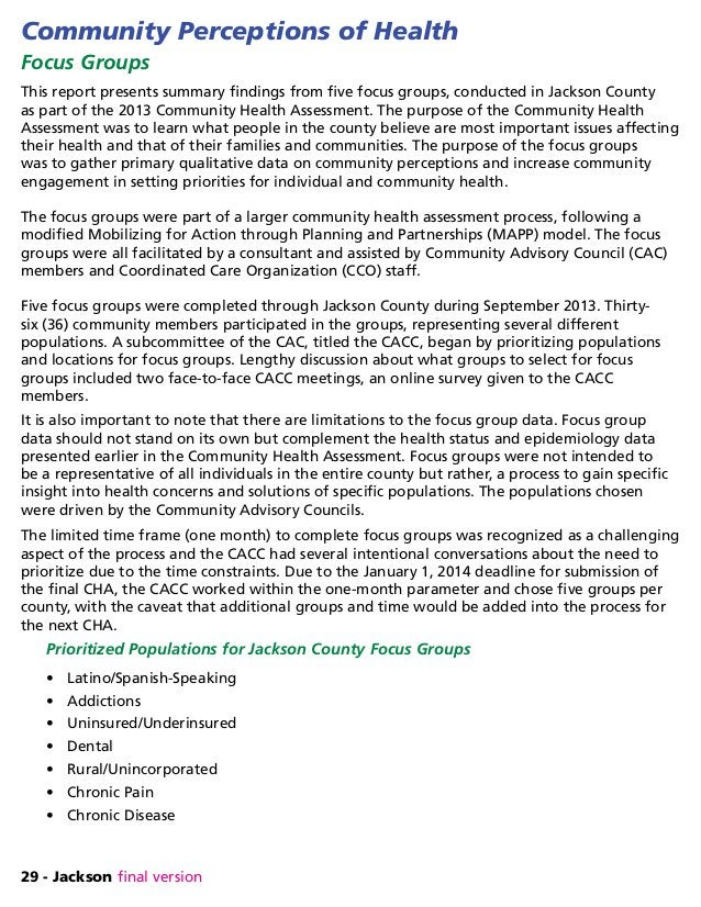 29 - Jackson final version Community Perceptions of Health Focus Groups This report presents summary findings from five fo...