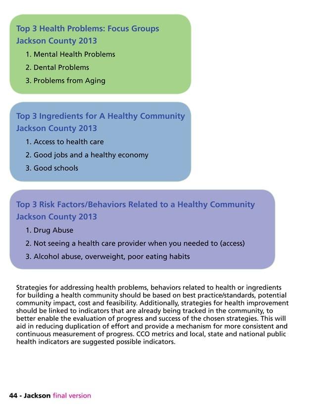 44 - Jackson final version Top 3 Health Problems: Focus Groups Jackson County 2013 1. Mental Health Problems 2. Dental Pro...