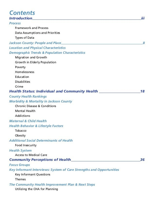 Contents Introduction iii Process Framework and Process Data Assumptions and Priorities Types of Data Jackson County: Peop...