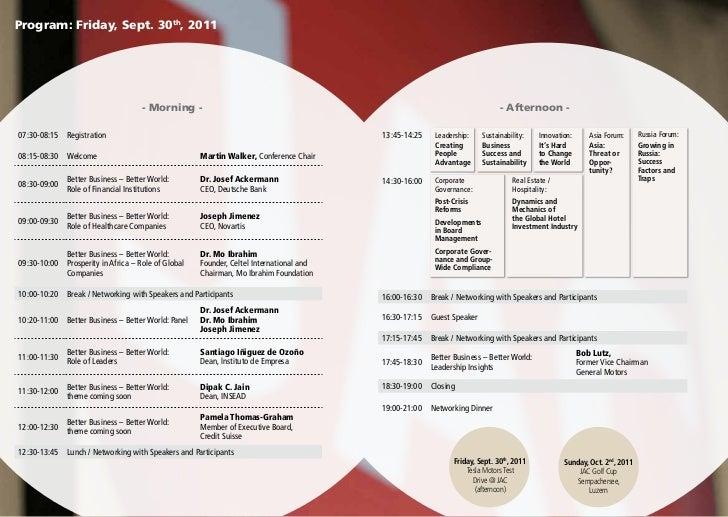Program: Friday, Sept. 30th, 2011                                    - Morning -                                          ...