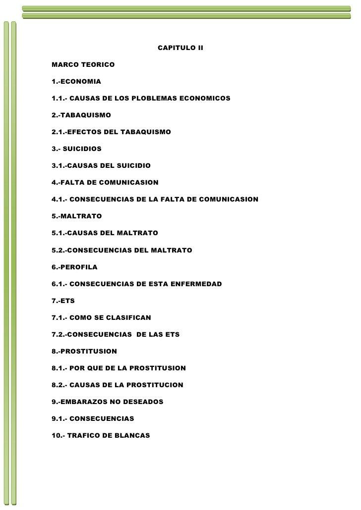 CAPITULO II<br />MARCO TEORICO<br />1.-ECONOMIA<br />1.1.- CAUSAS DE LOS PLOBLEMAS ECONOMICOS<br />2.-TABAQUISMO<br />2.1....