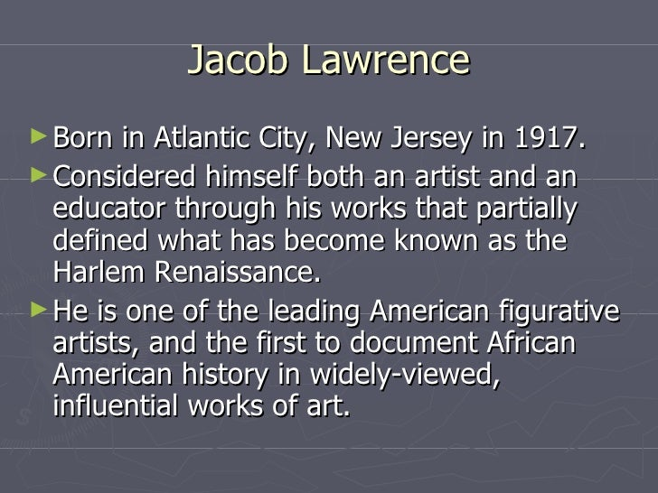 An introduction to the history of american art jacob lawrence