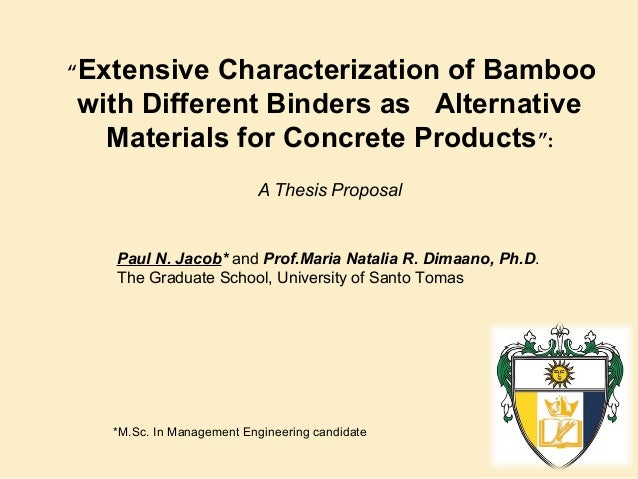 """Extensive  Characterization of Bamboo with Different Binders as Alternative Materials for Concrete Products"": A Thesis Pr..."
