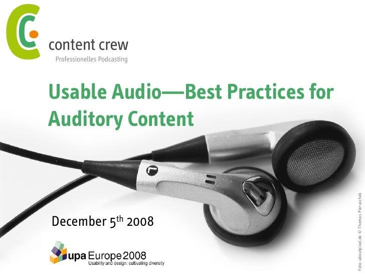 Usable Audio—Best Practices for Auditory Content                                       Foto: aboutpixel.de © Thomas Pierus...