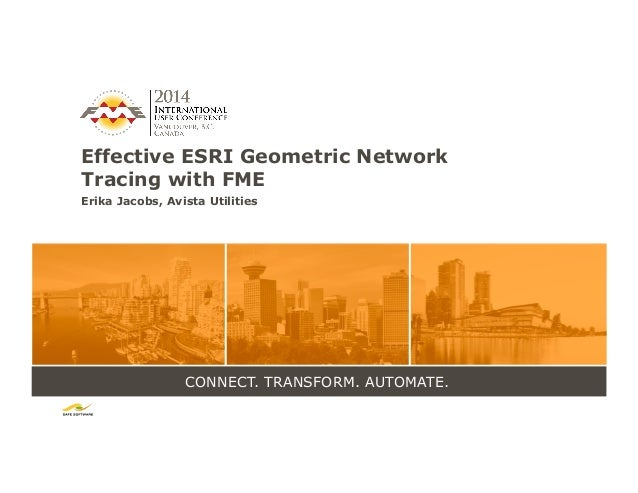 CONNECT. TRANSFORM. AUTOMATE. Effective ESRI Geometric Network Tracing with FME Erika Jacobs, Avista Utilities
