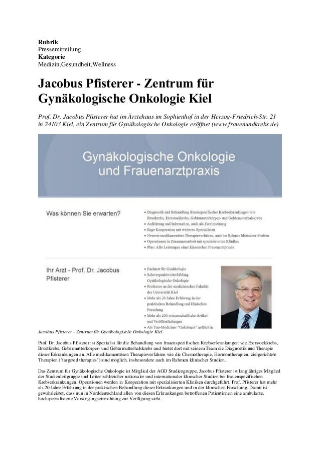 Rubrik Pressemitteilung Kategorie Medizin,Gesundheit,Wellness Jacobus Pfisterer - Zentrum für Gynäkologische Onkologie Kie...