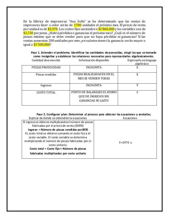 """En la fábrica de impresoras """"Ana Sofía"""" se ha determinado que las ventas de  impresoras láser a color serán de 1700 unidad..."""