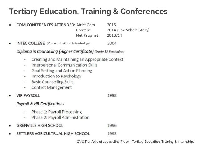 2 tertiary education training conferences cv