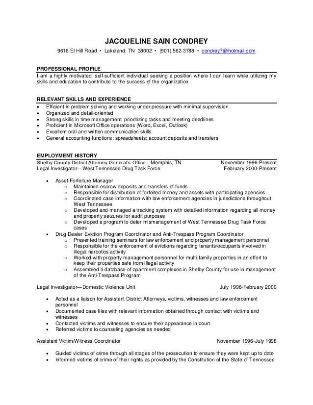 criminal justice resume sle