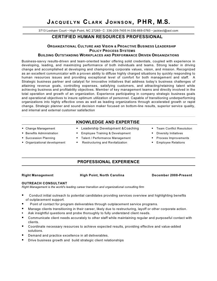 J A C Q U E L Y N C L A R K J O H N S O N , P H R , M.S. 3713 Lexham Court   High Point, ...  Human Resources Resume Template