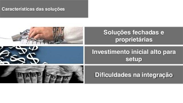 Investimento inicial alto para setup! Soluções fechadas e proprietárias! Dificuldades na integração! Limitações de conectiv...