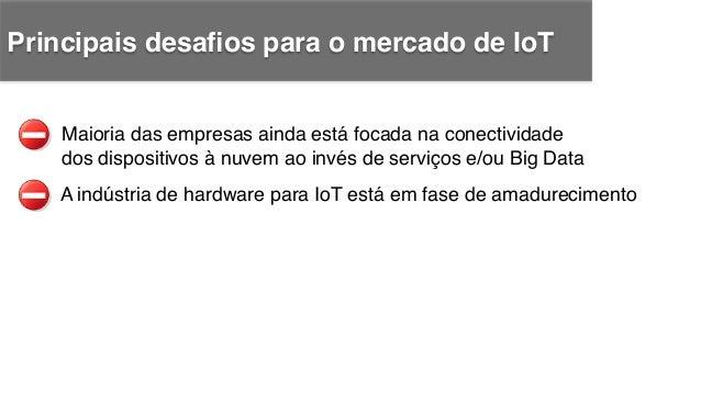 A indústria de hardware para IoT está em fase de amadurecimento ! Maioria das empresas ainda está focada na conectividade ...