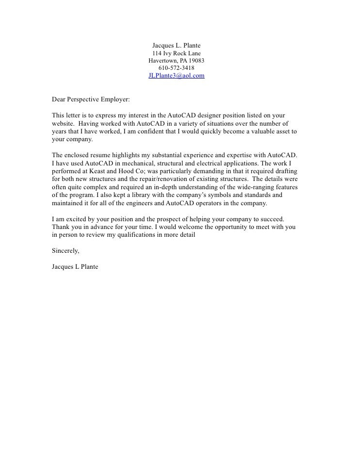 Jacques Cover Letter. Jacques L. Plante ...