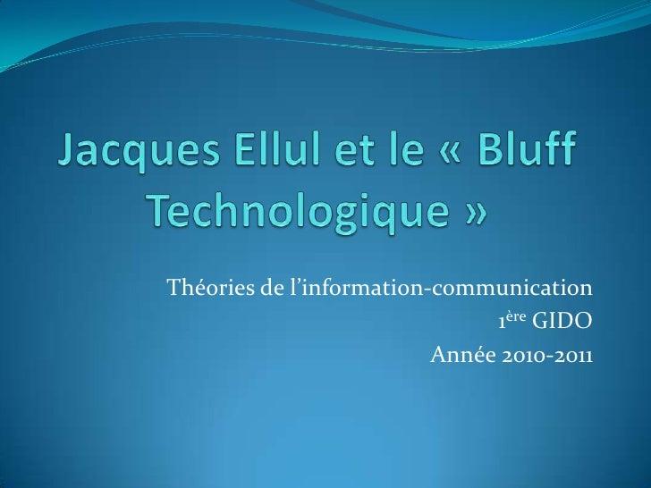Théories de l'information-communication                               1ère GIDO                          Année 2010-2011