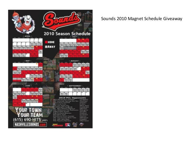 Sounds 2010 Magnet Schedule Giveaway