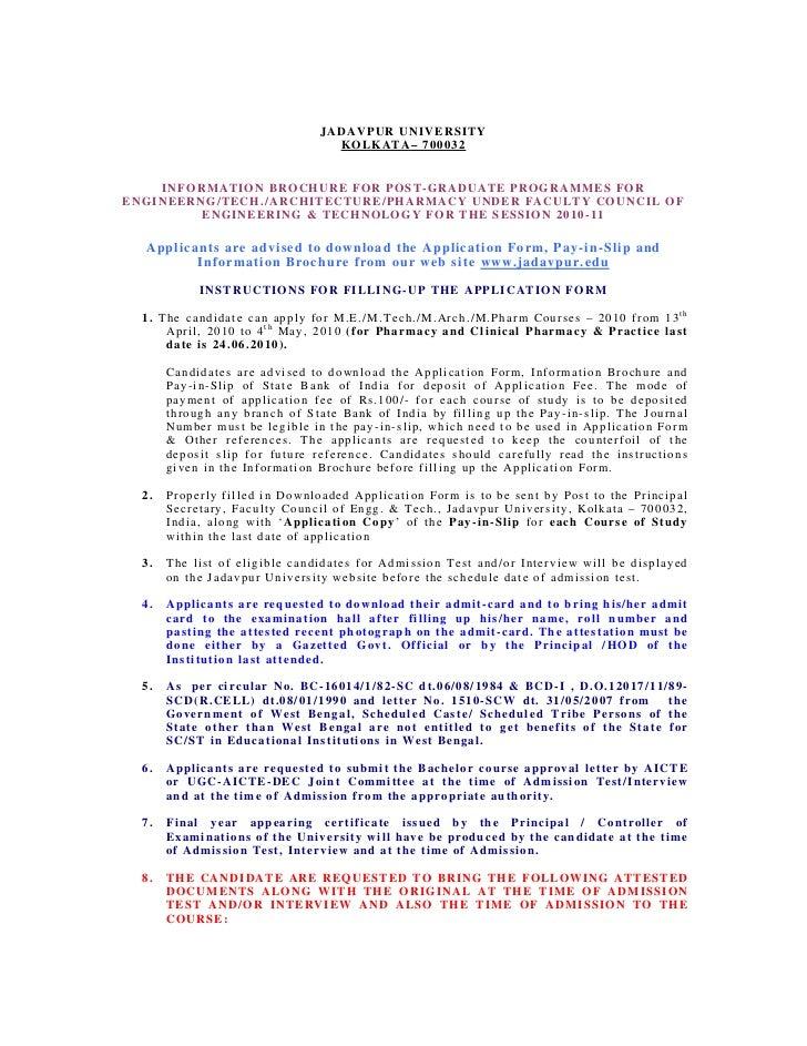 JADAVPUR UNIVERSITY                                                 KOLKATA– 700032    INFORMATION BROCHURE FOR POST-GRADU...