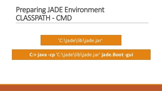 Preparing JADE Environment CLASSPATH - CMD 'C:jadelibjade.jar' C:> java -cp 'C:jadelibjade.jar' jade.Boot -gui