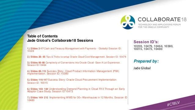 Jade Global's COLLABORATE 18 Presentations