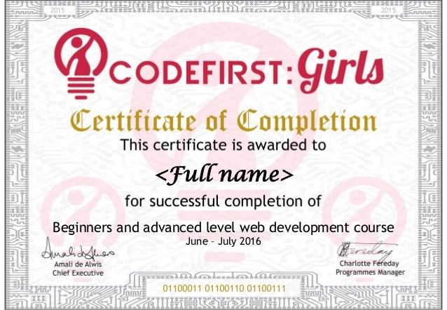 CodeFirst Girls Certificate of Completion