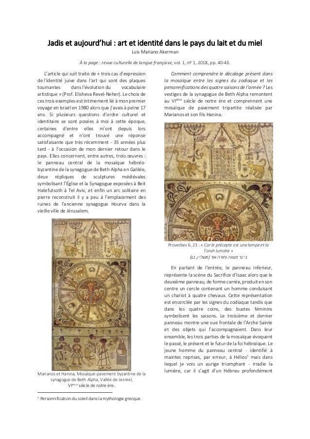 Jadis et aujourd'hui : art et identité dans le pays du lait et du miel Luis Mariano Akerman À la page : revue culturelle d...