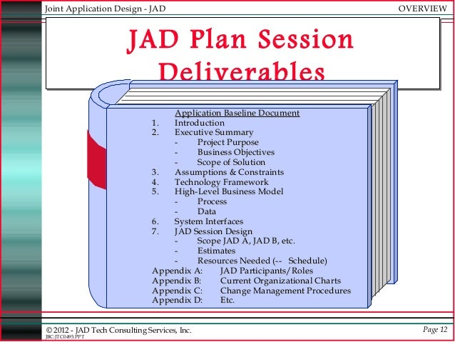jad session The success or failure of the jad process is closely tied to how well the facilitator handles the session this person must be highly trained as a facilitator and.