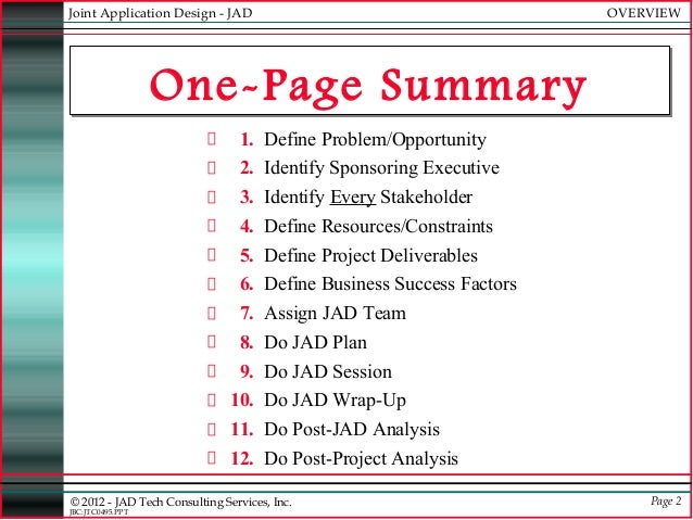 JAD Joint Applications Development – One Page Summary Template