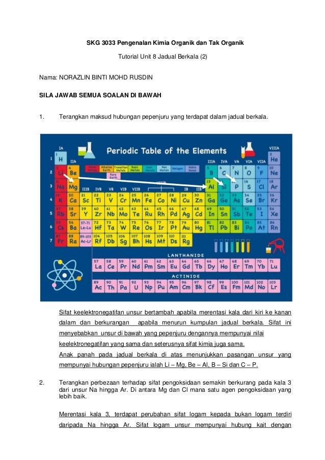 SKG 3033 Pengenalan Kimia Organik dan Tak Organik Tutorial Unit 8 Jadual Berkala (2) Nama: NORAZLIN BINTI MOHD RUSDIN SILA...