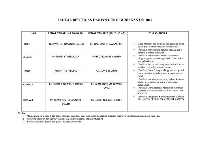 Jadual Bertugas Harian Guru Kantin 2012
